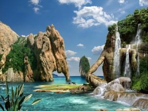 Postal: Hombre de piedra bajo las cascadas