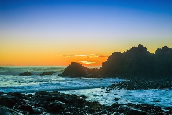 Puesta de sol en Cabo Arago, Oregón