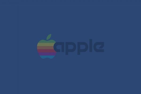 Apple arcoíris en fondo azul