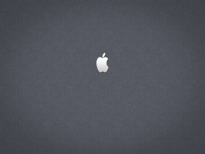 Apple en fondo gris