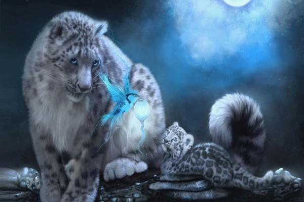 Leopardos y un pájaro azul portando luz
