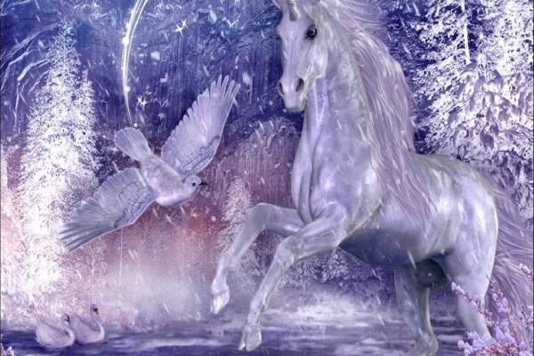 Unicornio y aves de color blanco