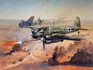 Postal: Dibujo de aviones en combate
