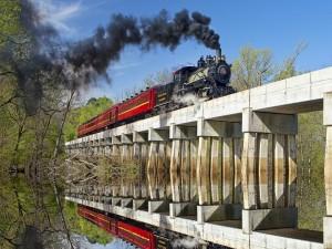 Tren cruzando un puente