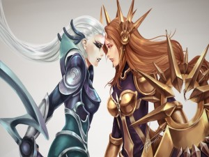 Postal: League of Legends (Leona y Diana)