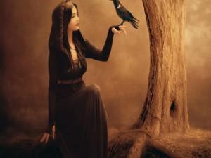 Postal: Bella bruja en el bosque