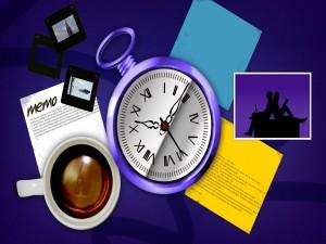 Postal: Reloj, diapositivas y otros elementos