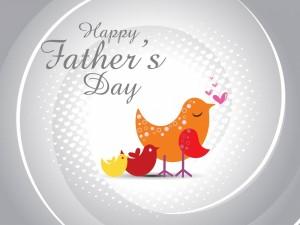 Postal: Familia de pajaritos: Feliz Día del Padre
