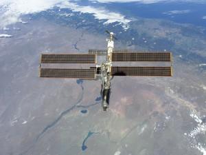 Estación espacial sobre la Tierra