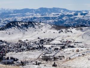 Postal: Vistas del pueblo nevado