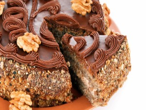 Postal: Tarta de nueces y chocolate