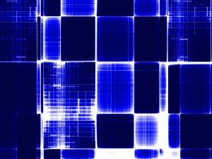 Postal: Textura con cuadrados azules