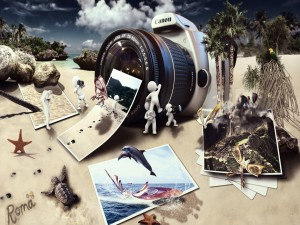 Fotomontaje en la playa