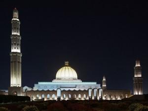 La Gran Mezquita del Sultán Qaboos, por la noche