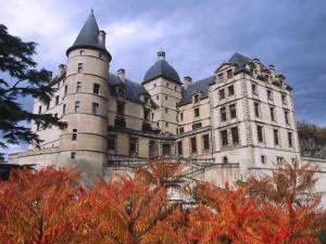 Árboles otoñales junto al castillo