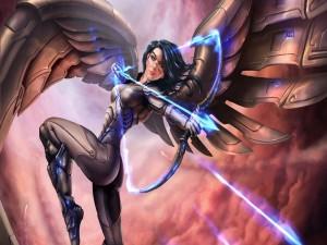 Mujer con un arco tirando flechas mágicas