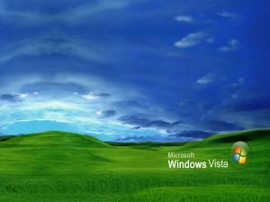 Postal: Microsoft Windows Vista sobre la hierba