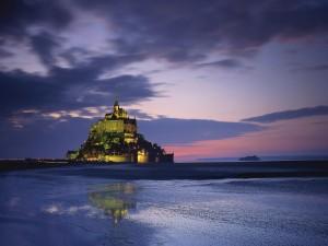 Postal: Anochecer en el Monte Saint-Michel