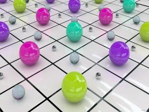 Postal: Cuadrados con coloridas bolas