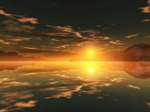 Sol y reflejos en el agua