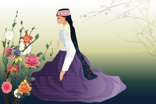 Mujer contemplando las flores