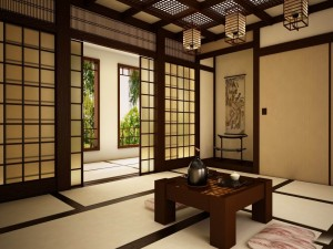 Postal: Salón de una casa tradicional japonesa