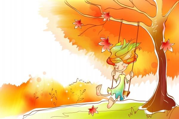 Feliz en el columpio del árbol