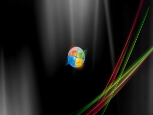 Postal: Logo Windows y líneas de colores