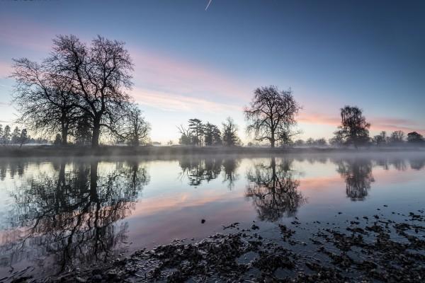 Niebla en el río al amanecer