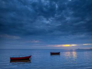 Postal: Dos botes en la inmensidad del mar