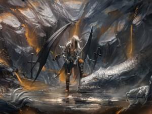 Postal: Dragón y ángel negro