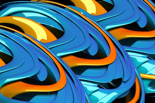 Ondas azules y naranjas
