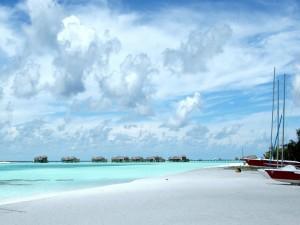 Vista de las cabañas en la playa