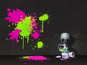 Postal: Pintando la pared