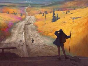 Postal: Chicas caminando por una carretera