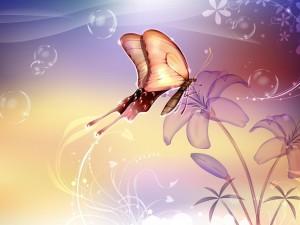Postal: Mariposa volando entre las flores
