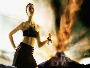 Postal: Chica cerca de un volcán