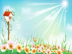 Postal: Un bonito día entre las flores