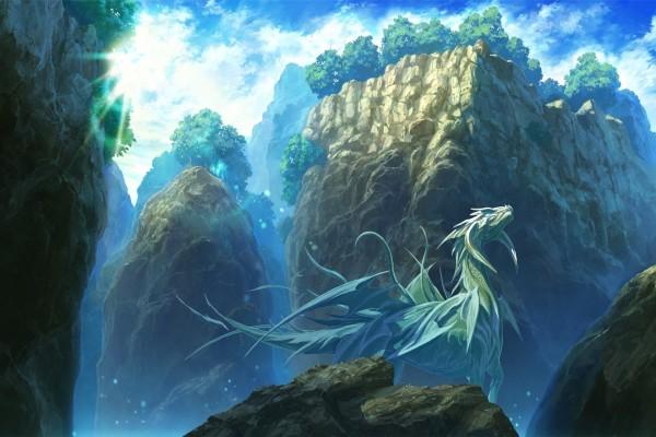 Un dragón entre montañas