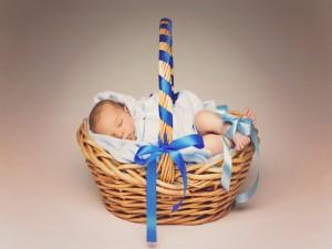 Bebé durmiendo en una cesta