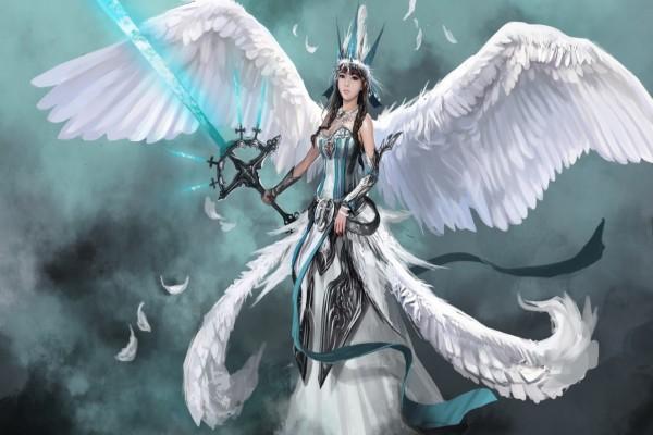 Mujer con alas y armas