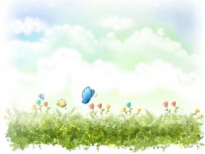 Mariposas revoloteando de flor en flor