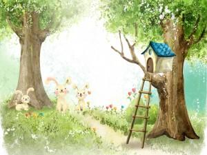 Postal: Casita en el árbol y conejos felices