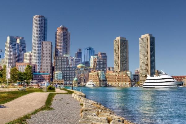 Vista del distrito financiero de Boston