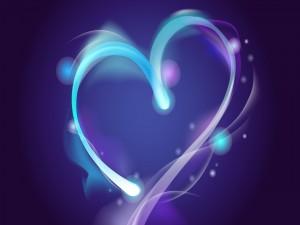 Postal: Corazón a dos colores