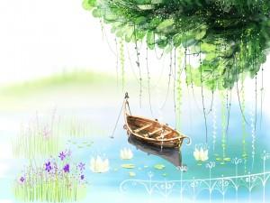 Barquita en el lago