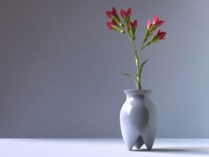Rama con flores en un jarrón