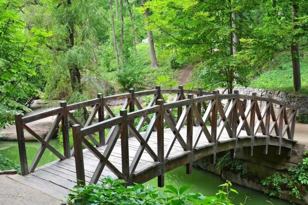 Puente viejo en el parque