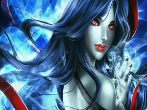 Vampiresa con ojos rojos