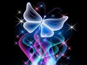 Mariposa entre brillo, resplandor y colores